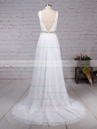 A-line V-neck Sweep Train Lace Tulle Sashes / Ribbons Wedding Dresses #PDS00023210