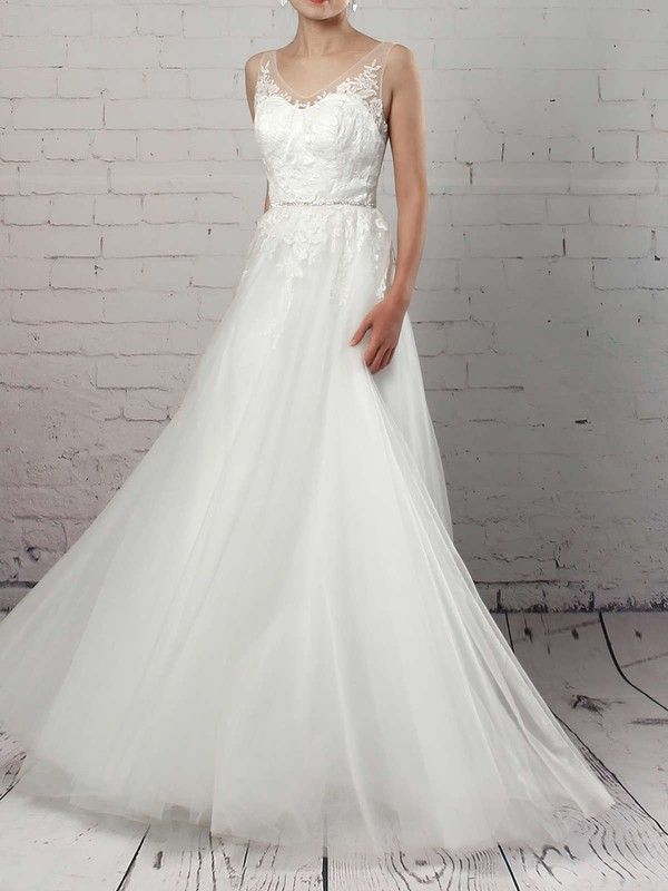 A-line V-neck Sweep Train Tulle Appliques Lace Wedding Dresses #PDS00023215