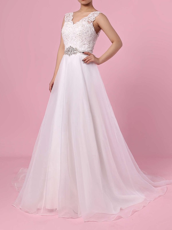Princess V-neck Sweep Train Chiffon Appliques Lace Wedding Dresses #PDS00023282