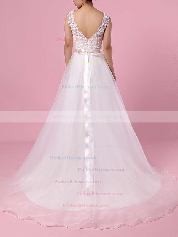 Princess V-neck Sweep Train Chiffon Appliques Lace Wedding Dresses #PDS00023282