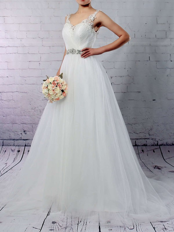 Princess V-neck Sweep Train Tulle Beading Wedding Dresses #PDS00023288