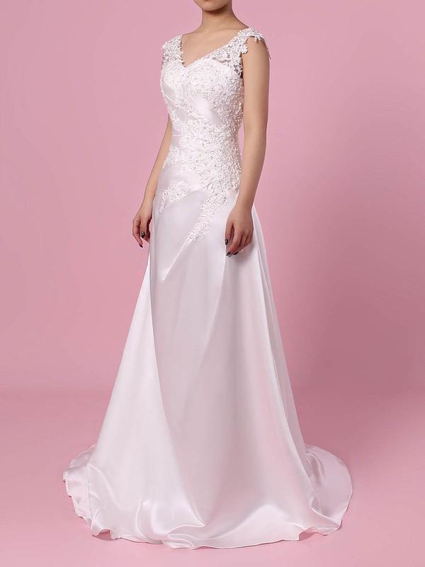 Princess V-neck Sweep Train Satin Tulle Appliques Lace Wedding Dresses #PDS00023301