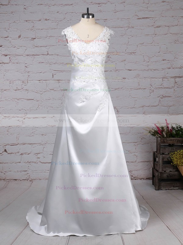 Princess V-neck Sweep Train Satin Tulle Appliques Lace Wedding Dresses #PDS00023301