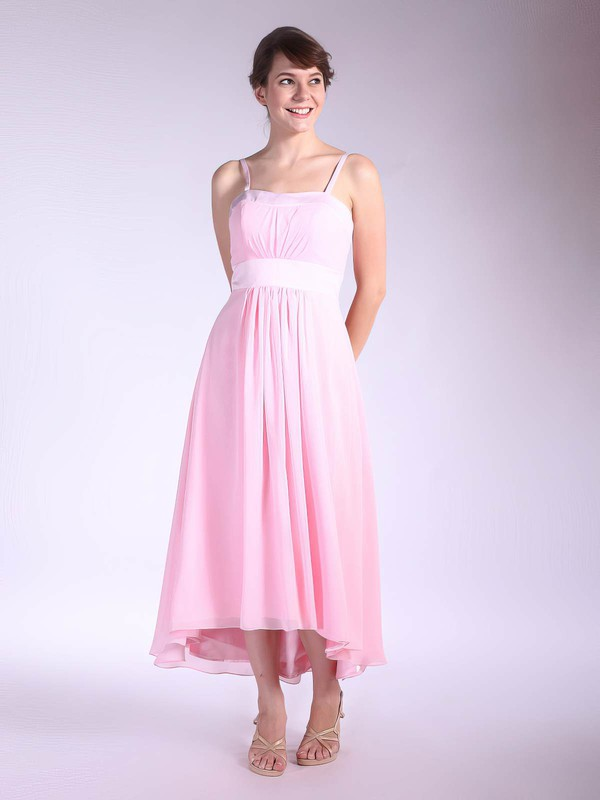 Chiffon A-line Square Asymmetrical Pleats Bridesmaid Dresses #PDS01012034