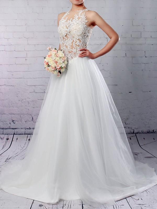 Princess Scoop Neck Sweep Train Tulle Appliques Lace Wedding Dresses #PDS00023309
