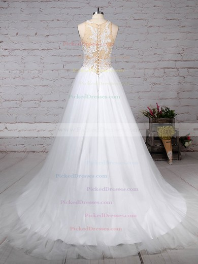Princess Scoop Neck Sweep Train Tulle Appliques Lace Wedding Dresses #PDS00023309