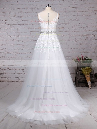 A-line Scoop Neck Sweep Train Tulle Appliques Lace Wedding Dresses #PDS00023318