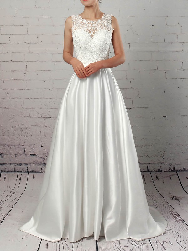 Ball Gown Scoop Neck Sweep Train Satin Tulle Appliques Lace Wedding Dresses #PDS00023319