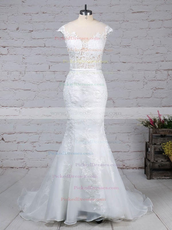Trumpet/Mermaid Scoop Neck Sweep Train Tulle Appliques Lace Wedding Dresses #PDS00023152