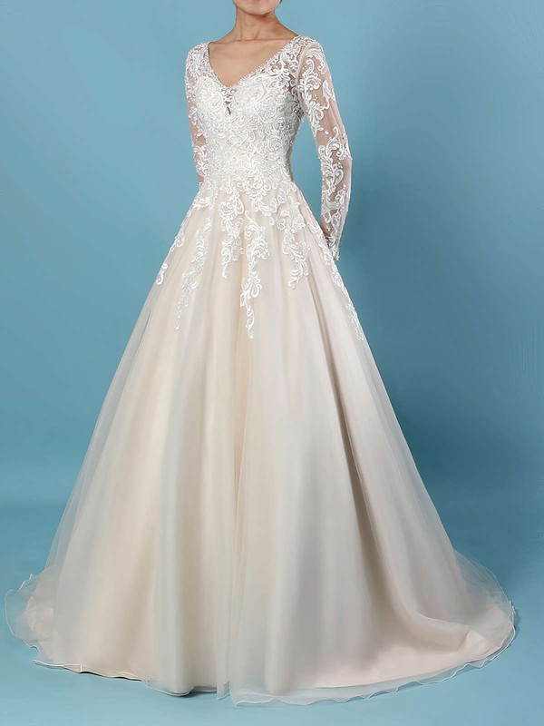 Ball Gown V-neck Court Train Tulle Beading Wedding Dresses #PDS00023154