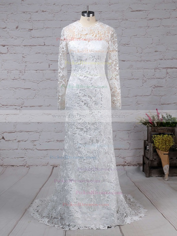 Sheath/Column Scoop Neck Sweep Train Lace Tulle Wedding Dresses #PDS00023193