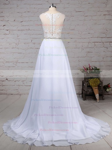 Princess V-neck Sweep Train Chiffon Tulle Beading Wedding Dresses #PDS00023181