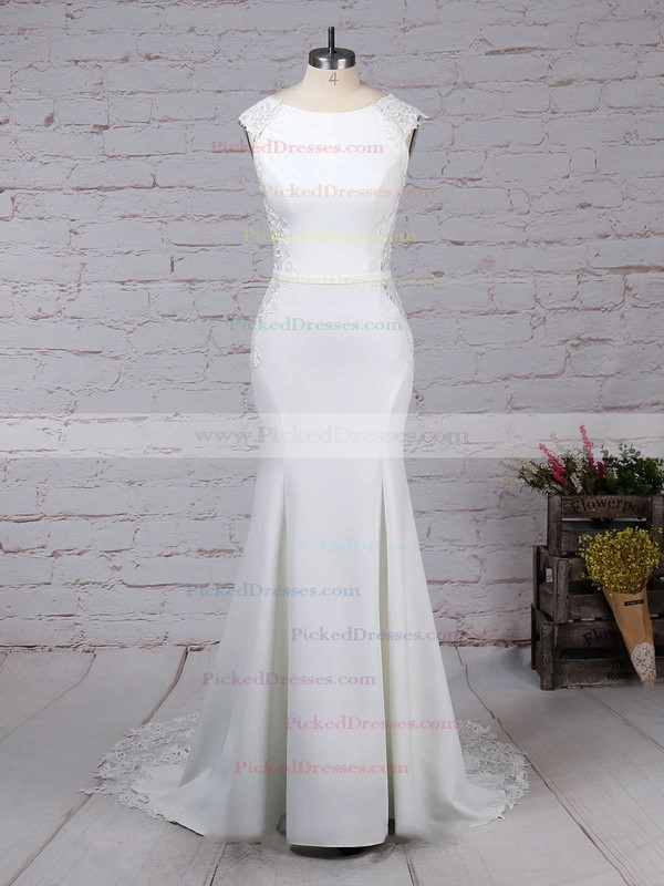Trumpet/Mermaid Scoop Neck Sweep Train Tulle Satin Chiffon Appliques Lace Wedding Dresses #PDS00023278