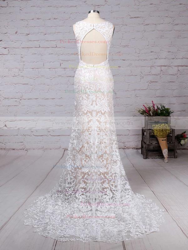 Trumpet/Mermaid V-neck Sweep Train Lace Appliques Lace Wedding Dresses #PDS00023284