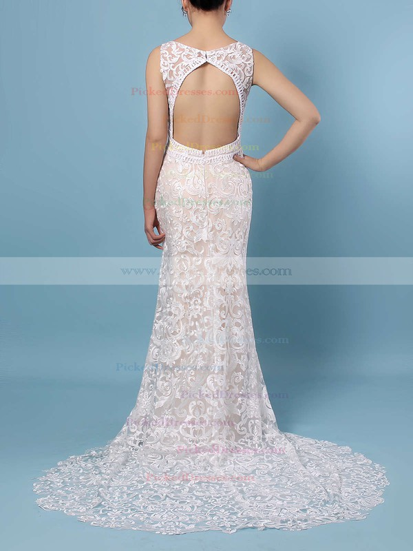 Trumpet/Mermaid V-neck Sweep Train Lace Appliques Lace Wedding Dresses #PDS00023284