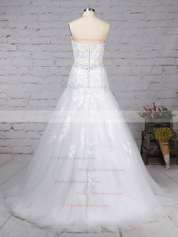 Trumpet/Mermaid Sweetheart Court Train Tulle Appliques Lace Wedding Dresses #PDS00023150