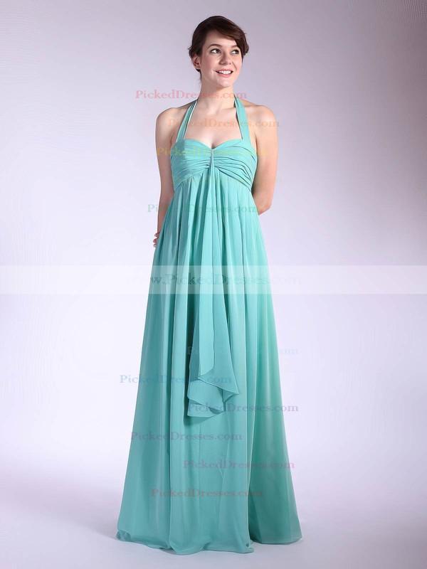 Chiffon Empire Halter Floor-length Pleats Bridesmaid Dresses #PDS01012035