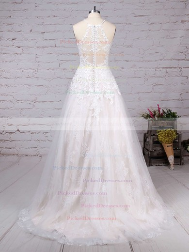 Princess Scoop Neck Sweep Train Lace Tulle Appliques Lace Wedding Dresses #PDS00023159