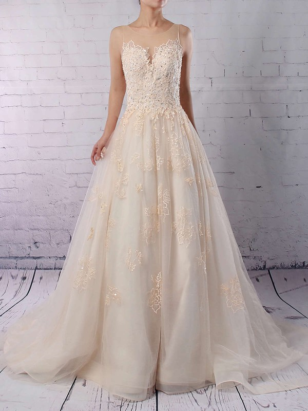 Ball Gown Scoop Neck Sweep Train Tulle Sequins Wedding Dresses #PDS00023173