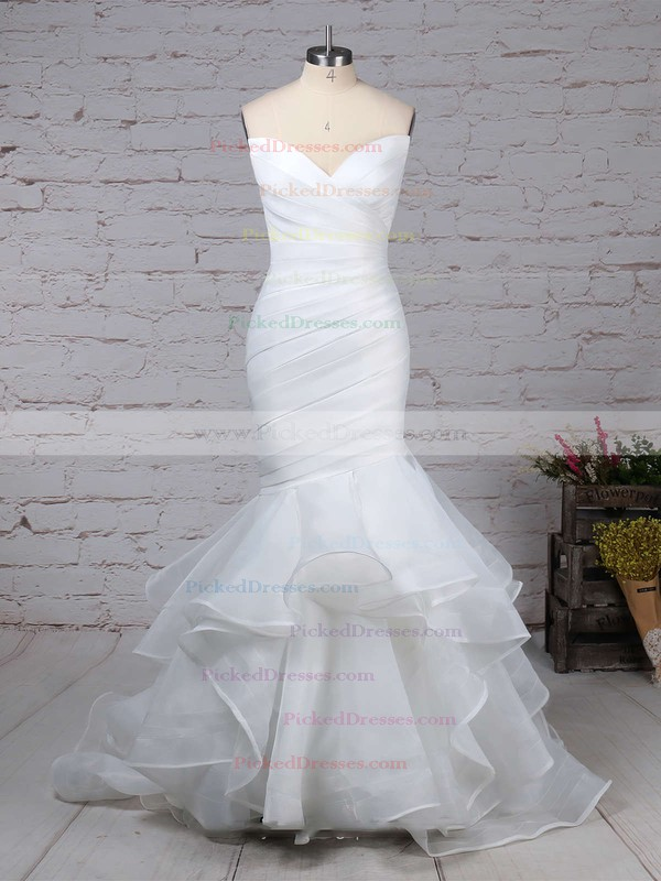 Trumpet/Mermaid V-neck Sweep Train Organza Side-Draped Wedding Dresses #PDS00023190