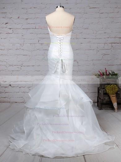 Trumpet/Mermaid V-neck Sweep Train Organza Side-Draped Wedding Dresses #PDS00023190