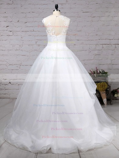 Ball Gown Scoop Neck Sweep Train Organza Tulle Appliques Lace Wedding Dresses #PDS00023192