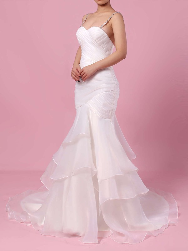 Trumpet/Mermaid Sweetheart Sweep Train Organza Tulle Beading Wedding Dresses #PDS00023217