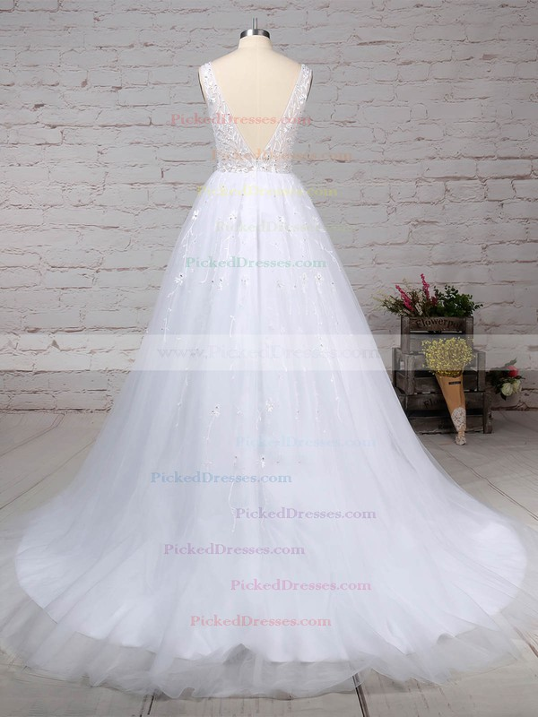Ball Gown V-neck Sweep Train Tulle Beading Wedding Dresses #PDS00023221