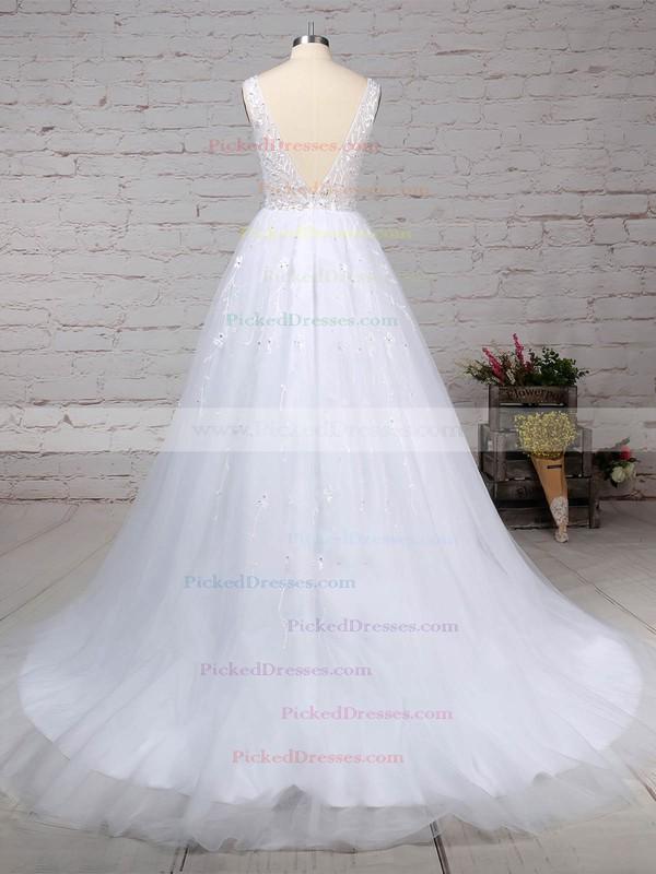 Ball Gown V-neck Sweep Train Tulle Beading Wedding Dresses #PDS00023221