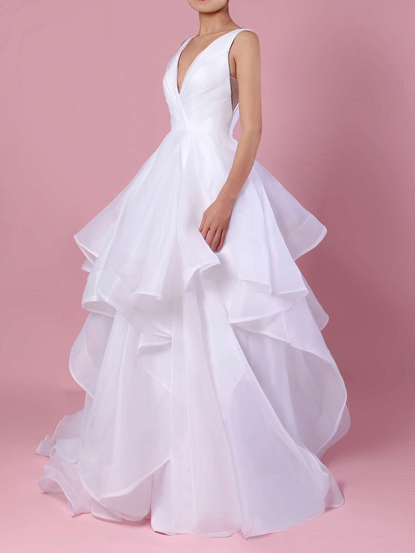 Ball Gown V-neck Sweep Train Organza Ruffles Wedding Dresses #PDS00023222