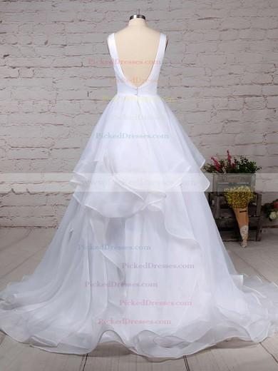 Ball Gown V-neck Sweep Train Organza Ruffles Wedding Dresses #PDS00023222