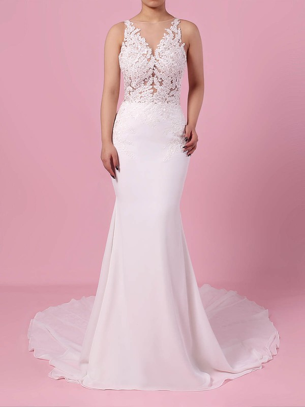 Trumpet/Mermaid V-neck Sweep Train Chiffon Tulle Beading Wedding Dresses #PDS00023232