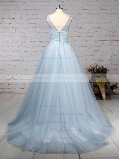 Ball Gown V-neck Court Train Tulle Beading Wedding Dresses #PDS00023241