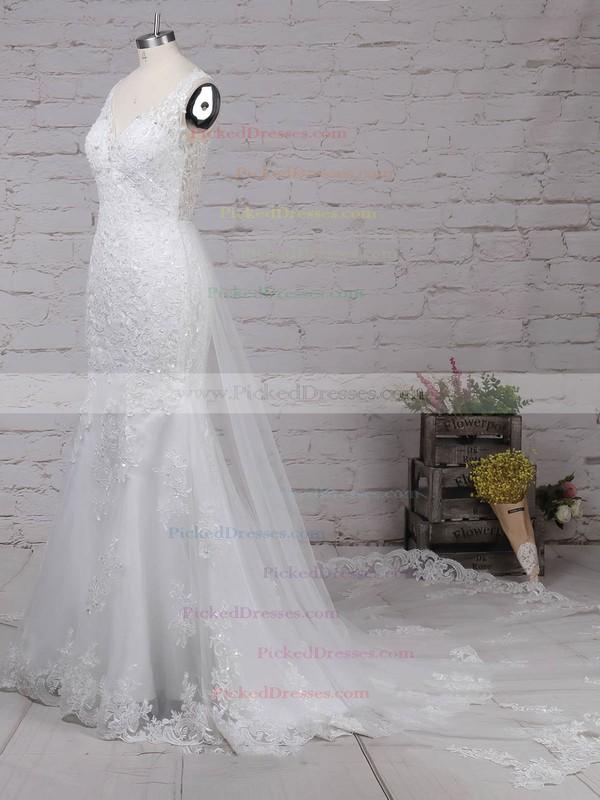 Trumpet/Mermaid V-neck Detachable Tulle Beading Wedding Dresses #PDS00023148