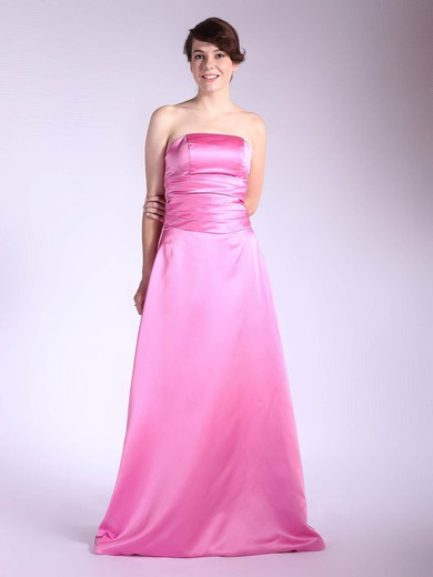 Satin A-line Strapless Floor-length Pleats Bridesmaid Dresses #PDS01012036