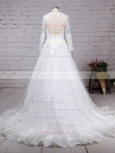 Ball Gown Scoop Neck Sweep Train Tulle Appliques Lace Wedding Dresses #PDS00023286