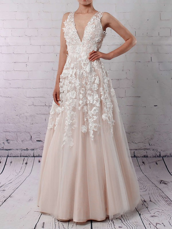 Princess V-neck Floor-length Tulle Appliques Lace Wedding Dresses #PDS00023122