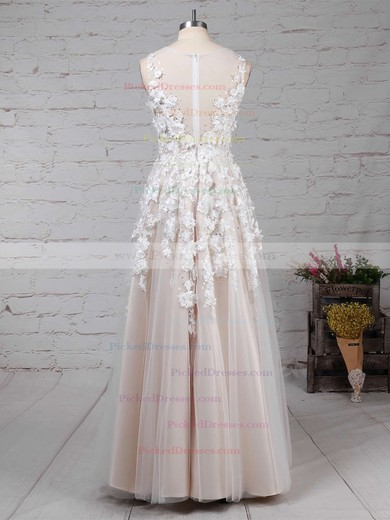 Princess V-neck Floor-length Tulle Appliques Lace Wedding Dresses #PDS00023122