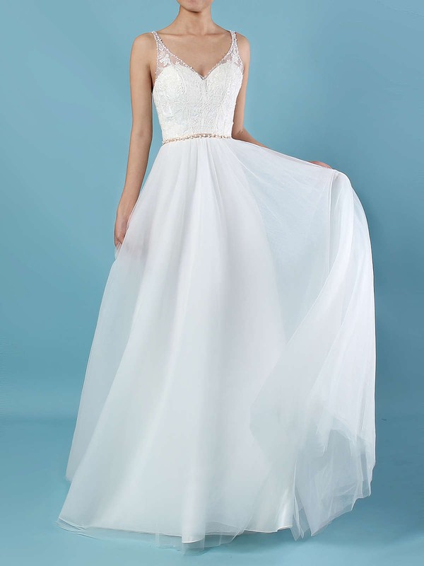 A-line V-neck Sweep Train Tulle Beading Wedding Dresses #PDS00023124