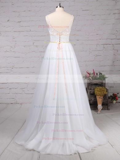 A-line V-neck Sweep Train Tulle Beading Wedding Dresses #PDS00023124