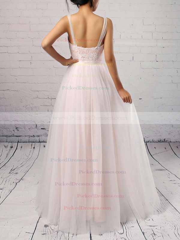 A-line Scoop Neck Sweep Train Tulle Appliques Lace Wedding Dresses #PDS00023126