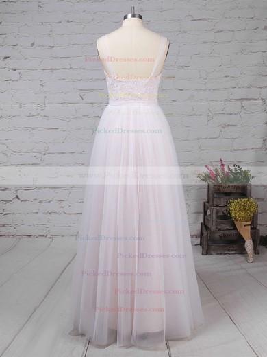 A-line Scoop Neck Sweep Train Tulle Appliques Lace Wedding Dresses #PDS00023126