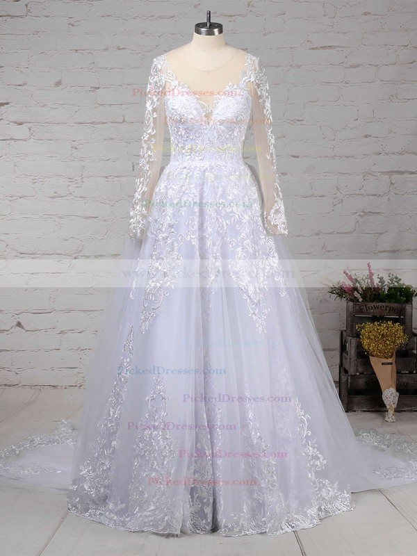 Ball Gown Scoop Neck Sweep Train Organza Tulle Appliques Lace Wedding Dresses #PDS00023141