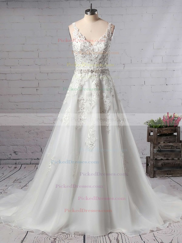 Princess V-neck Court Train Organza Beading Wedding Dresses #PDS00023147