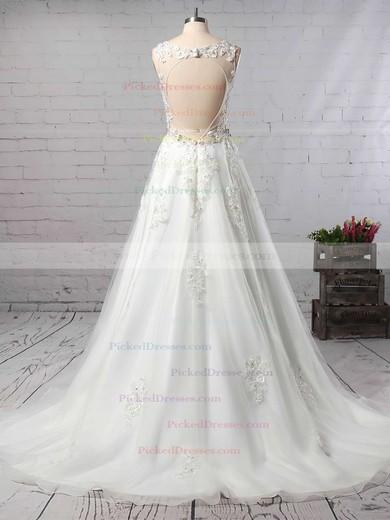 Princess V-neck Court Train Organza Beading Wedding Dresses #PDS00023147