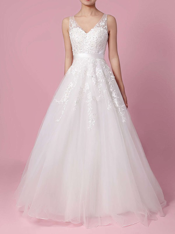 A-line V-neck Sweep Train Tulle Beading Wedding Dresses #PDS00023164