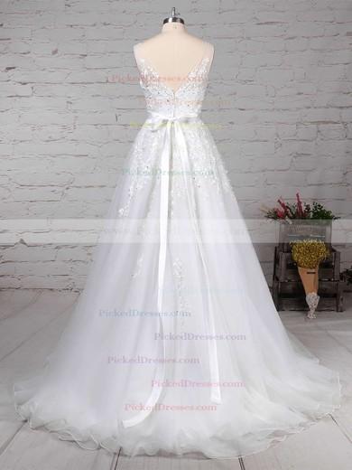 A-line V-neck Sweep Train Tulle Beading Wedding Dresses #PDS00023164