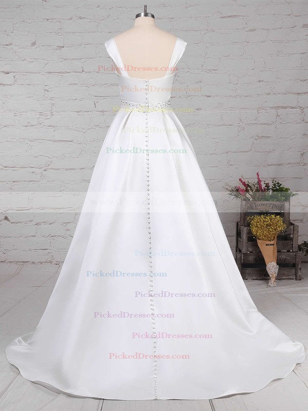 Ball Gown Square Neckline Sweep Train Satin Beading Wedding Dresses #PDS00023171