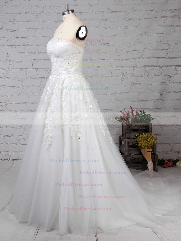 Ball Gown Strapless Sweep Train Tulle Appliques Lace Wedding Dresses #PDS00023175