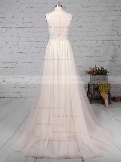 Princess Scoop Neck Sweep Train Tulle Lace Wedding Dresses #PDS00023182